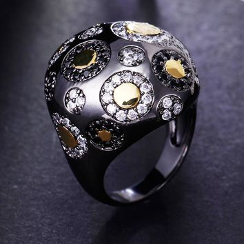 Vintage Rings for Women Ball Shape Bohemia Style Unique Cocktail Party Rings Black Gold-color Copper Metal with Cubic Zirconia