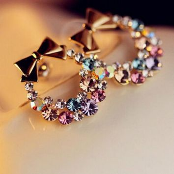 Rhinestone Retro Bow earrings-Great for the Holidays!