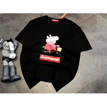 Supreme & Peppa Pig co-branded fashion wild men and women with the same bike T-shirt F-A-HRWM Black