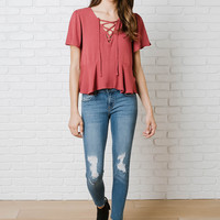 Carmen Lace-Up Blouse-FINAL SALE
