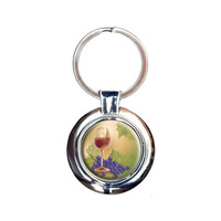Wine Glass and Grapes Keychain