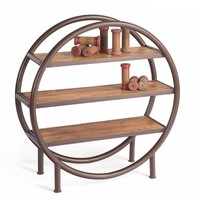 Rounder Metal and Wood Bookshelf by Go Home Ltd. 12053