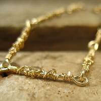 Tangled Link Anklet Gold with Gold