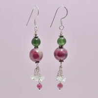 Handmade 925 Sterling Silver Multi Color Ruby Serpentine Beaded Ball Double Beads Drop Dangle Hook Bead Earrings Minimalist Everyday Jewelry