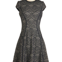 ModCloth Long Cap Sleeves A-line Evoke Virtuosity Dress