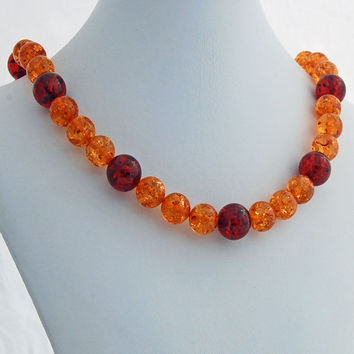 Chunky Amber Necklace, Tangerine and Cognac Amber Beaded Necklace, Large Gemstone Statement Necklace, Orange and Cherry Amber Jewelry