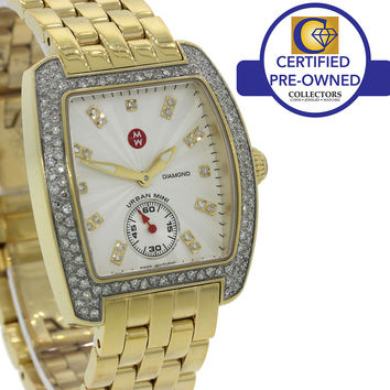 Ladies Michele Urban Mini Gold Diamond Bezel MW02A01D1942 Quartz 29mm Watch