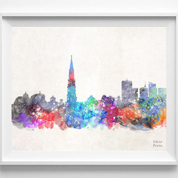 Brussels Skyline, Belgium Watercolor, Poster, Belgian, Print, Bedroom, Cityscape, City Painting, Living, Illustration Art, Europe [NO 424]