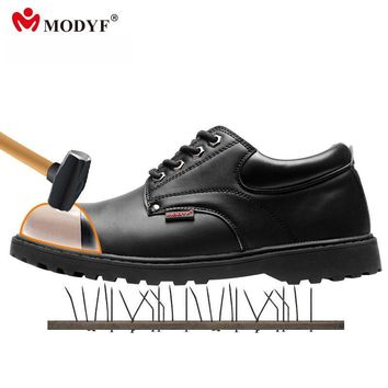 Modyf men steel toe cap work safety shoes leather casual breathable outdoor boots pun