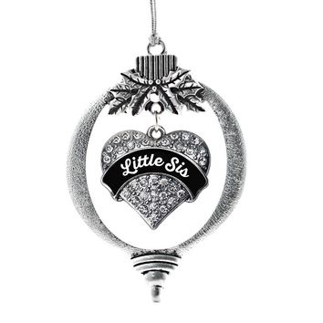 Black and White Little Sister Pave Heart Charm Holiday Ornament