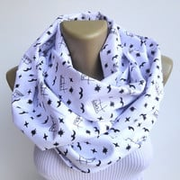 bird scarf / Istanbul scarf / cotton infinity scarf / white seagull print scarf / scarve scarf / fashion accessoies for her