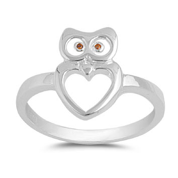 925 Sterling Silver Owl Ring 14MM