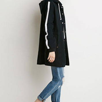 Contemporary Striped-Sleeve Utility Jacket