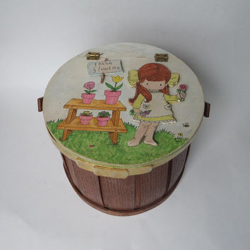 Summer Wood Basket Purse, Hand Painted Hinged Lid Joan Walsh Anglund Cute Little Girl with Flowers, Vintage 1970's Wooden Pail Handbag OOAK