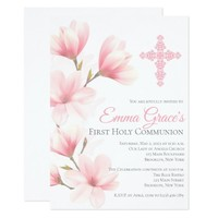 Elegant Floral First Holy Communion Invitation
