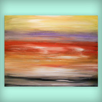 acrylic art sunset painting original red yellow purple violet large painting abstract 36 x 30 x 1.5 Mattsart
