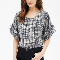 Abstract-Plaid Ruffled Bell Sleeve Top