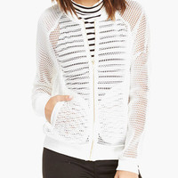White Net Mesh Zip-up Jacket with Side Pockets