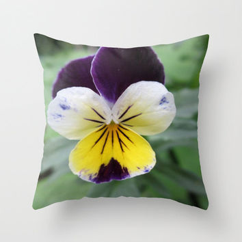 Violet Pillow, Pansy Flower Pillow Covers, Purple and Yellow, Floral Pillowcase, Pretty Pillowcase,16X16 Pillow Cover, 18X18 Canvas Throw