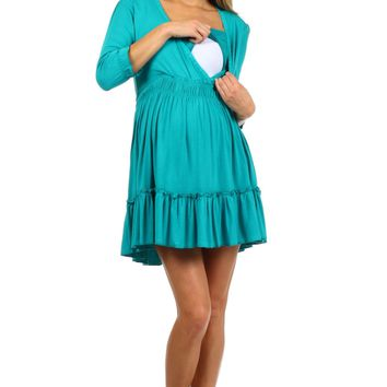 Belle Ruffle Nursing Dress or Long Nursing Top