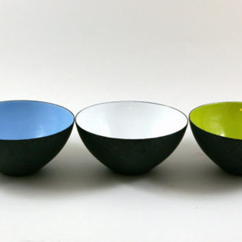 Three Krenit Bowls in Blue White and Lime Green Designed by Herbert Krenchel