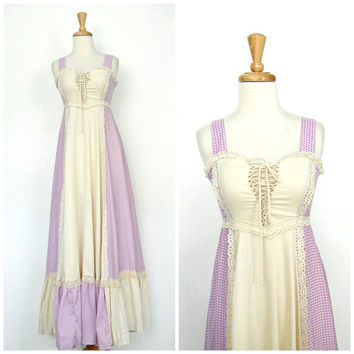 1970s Gunne Sax Dress / 70s dress / boho wedding dress / maxi / gingham dress / crochet dress / sundress / lace up  / Small