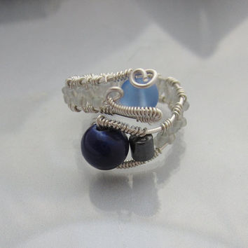 Sterling Silver Wire Wrapped Ring with Pale Blue Sea Glass, Hematite, and AB Glass Bead adjustable