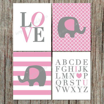 "INSTANT DOWNLOAD Light Pink Grey Set of 4 Nursery Wall Art Printable Elephant Love ABC's Digital Files Girl Nursery Room Decor 8""x10"" 004"
