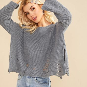 Drop Shoulder Ripped Detail Sweater