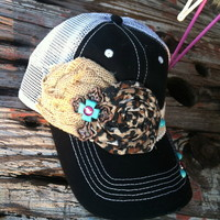 Burlap/Leopard rosette hat from PeaceLove&Jewels