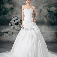 Sweetheart Satin Ball Gown with Ruched Bodice and Flower