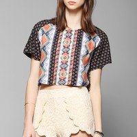 Staring At Stars Print-Mix Cropped Tee - Urban Outfitters