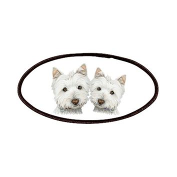 TWO CUTE WEST HIGHLAND WHITE DOGS PATCHES