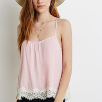 Crisscross Lace-Trimmed Cami