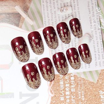 Wine Red 24 Pcs/ Set Charming Fake Nail Shimmer Glitter Design Nail Art False Tips Full Cover Nails Art Tips -30