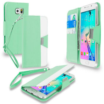 Mint Green Wallet Magnetic Metal Flap Case Cover With Card Slots for Samsung Galaxy S6
