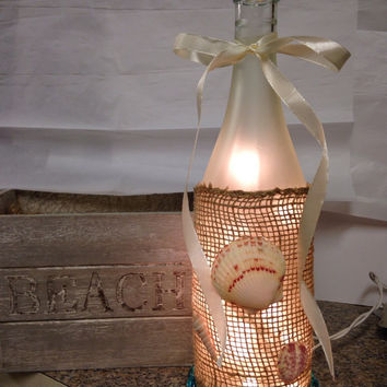 Beach themed wine bottle lamp, wine bottle light, nautical decor, accent lamp, night light
