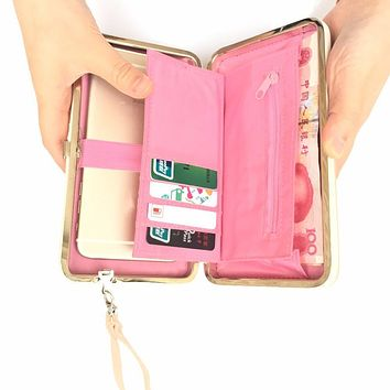 2017 Bow-tie Long Solid Wallet Women Luxury Brand Cellphone Pocket Gift For Female Purse Bag With Loop Large Capacity Day Clutch