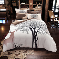 Svetanya Tree Deer print bedding set thick sanding cotton Bedlinen Queen/King size winter Duvet cover set