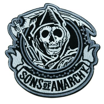 Sons of Anarchy Reaper Patch Iron on Applique Alternative Clothing Biker Gang