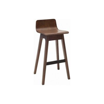 "Modern Scandinavian Design Tuscan Walnut ""Ava"" Low Back Bar Stool with Slanted Legs"