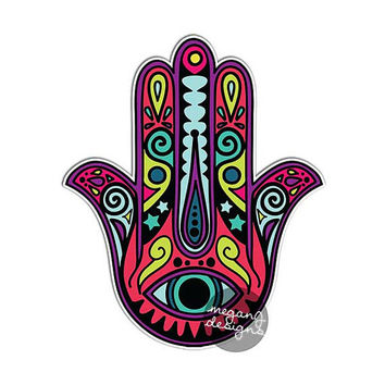 Purple Hamsa Hand Sticker Colorful Car Decal Laptop Decal Religious Amulet Wall Art Sticker Religion Yoga Happiness Luck Eye Symbol Hippie