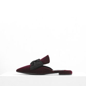 Velvet Bowknot Flat Shoes