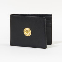 Crest Seal Leather Bi-Fold Wallet in Black