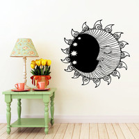 Sun Wall Decal Moon Crescent Dual Ethnical Stars Symbol Wall Decals Vinyl Sticker Interior Home Decor Vinyl Art Wall Decor Bedroom SV5845