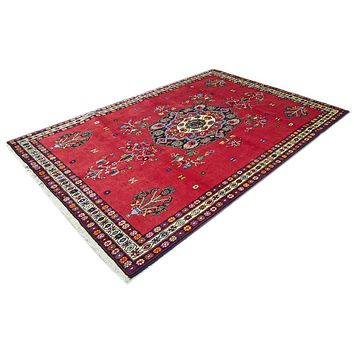 Oriental Shirwan Persian Pure Wool Rug, Dark Red and Blue
