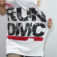 RUN DMC Hip Hop Mc Dj Rapper King Of Rock Hip Hop Dance Music Shirt White Tank Top Women Shirt Tunic Top Singlet Vest Hip Hop Shirt Size S M