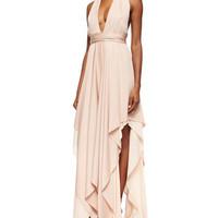 Alice + Olivia Lyndon Belted Deep-V Maxi Dress