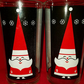 Vintage Holiday Barware-Libbey-Holt Howard-Tall Santa-Tumblers-set of 2