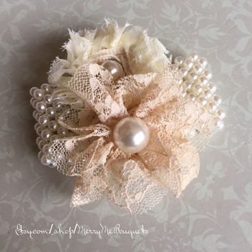 Shabby Chic Fabric Flower Corsage Bracelet with Ivory Pearls.